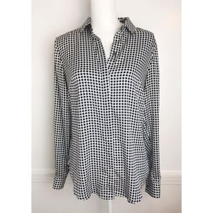 Ann Taylor • Black White Check Plaid Blouse